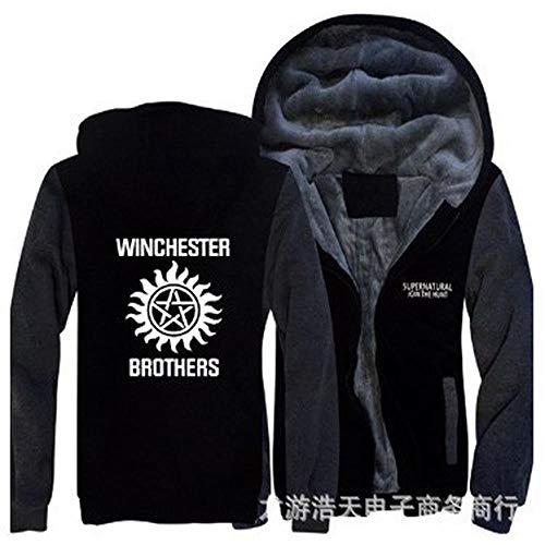 Sweats à Capuche Vestes d'homme - Supernatural Imprimer Casual Uniformes d'hiver à Capuchon De Base-Ball Chaud Zip à Manches Longues Sweat Black-XL