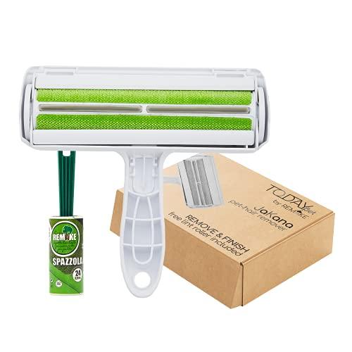 Eco Today Rodillo quitapelos Mascotas Reutilizable + Cepillo Adhesivo Gratis Plastico 95% Reciclado sofá, Cama, Alfombra, Polvo, Muebles. Fácil de autolimpiarse.