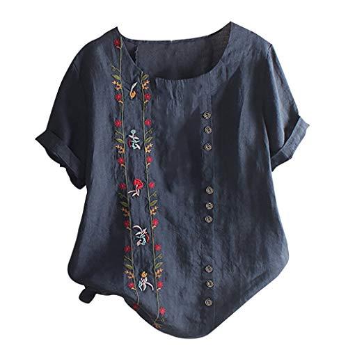TIFIY Top Casual da Donna Abbigliamento Taglie Forti Camicia Ricamata Floreale Boema Camicetta a Maniche Corte t-Shirt in Cotone e Lino M-5XL (XXXL, Marina Militare)