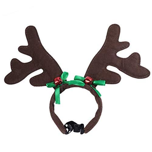 Balacoo Weihnachten Hund Stirnband Hund Geweih Stirnband mit Bogen Jingle Bell Dekoration Weihnachten Haustier Kostümzubehör für Hund Katze Welpen Kätzchen