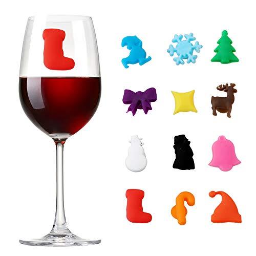 MHwan Glasmarkierer Party Weinglas, Teebeutel Halter Silikon, Verschiedene Formen Weihnachtsweinglasmarker Wiederverwendbare Weinglasmarker für Weihnachtsfeiertagszubehör, 24 Stück