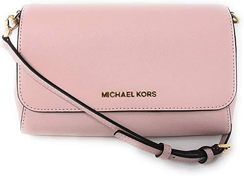 Michael Kors Jet Set Travel Saffiano Leather Small Crossbody Bag Purse Handbag Iphone Smart Phone Holder Case, Damson