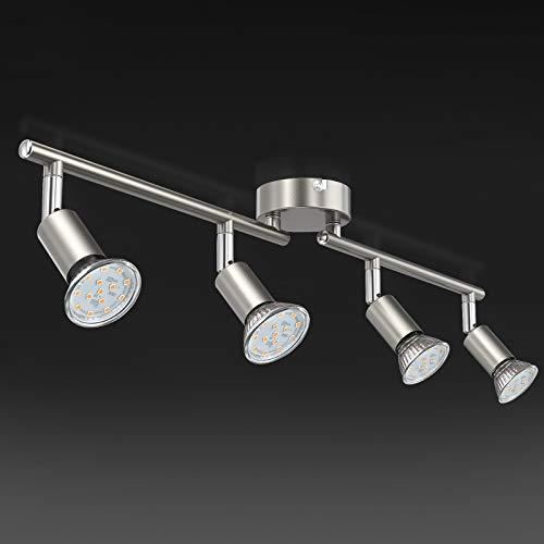 Uchrolls LED Deckenleuchte Schwenkbar, 4 Flammig, inkl. 4 x Leuchtmittel GU10 LED, 380LM, Warmweiß, LED Deckenlampe LED Deckenspot LED Deckenstrahler LED Leuchte