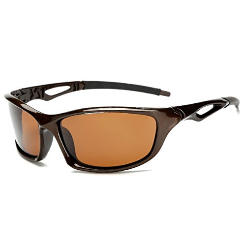 Polarized Sport Sunglasses for Cycling Running Fishing Driving Men and Women (Brown, Brown)
