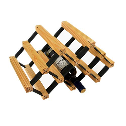 LY88 meerlagige tafel-wijnrekken - 6 flessen - massief hout - 43 x 24 cm - houtkleurig wijnglasrek