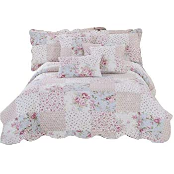 Meadow, Super King New Floral Vintage Patchwork Quilted Bedspread//Throw With 2 Pillow Shams