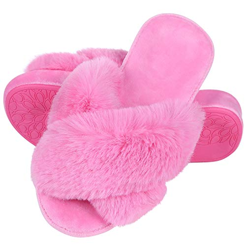shevalues Orthopedic House Slippers for Women Arch Support Faux Fur Indoor Slippers with Memory Foam, Hot Pink, 39
