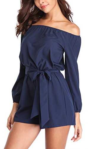 MISS MOLY Rompers for Women Off Shoulder Summer Casual Long Sleeve Sexy Juniors Dressy Beach Cute Jumpsuit Navy Blue XL