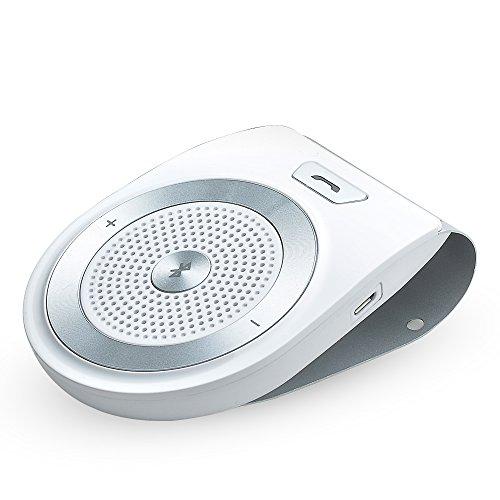 AGPTEK Kit di Vivavoce Wireless per Auto, Bluetooth 4,1, Siri Assistente Comandi Vocali, Audio HD, Cancellazione dei Rumori, Compatibile con Cellulari e PC Portatili, Tablet, Lettori MP3 (Bianco)