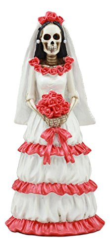 Ebros Day of The Dead Romantic Wedding Skeleton Bride Rosa Statue 8.25'Tall Dia De Muertos Love Never Dies Bride Of The Dead With Rose Bouquet Figurine