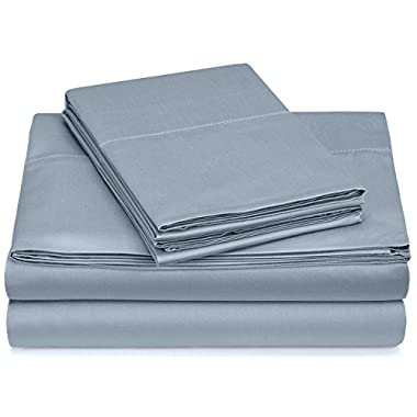 Pinzon 400-Thread-Count Egyptian Cotton Sateen Hemstitch Sheet Set - Cal King, Dusty Blue