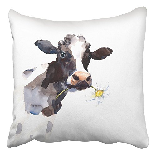 Acelive 16 X 16 Inches Throw Pillow Covers Watercolor Cow A Daisy Flower in Its Mouth Farm Animal Portrait Hand Decor Pillowcases Polyester for Home Sofa Bedroom Couch Car