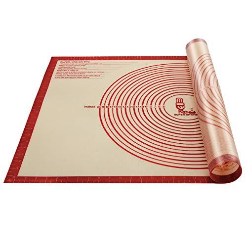 Super Grand Tapis à pâtisserie en silicone antidérapant avec mesures 91.4 × 61 cm pour tapis de cuisson, Tapis de comptoir, Tapis de pâte à rouler, Placement/fondant/Tapis de la croûte à tarte (Rouge)
