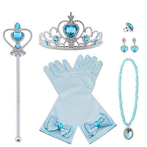 Vicloon Princesse Dress Up Accessoires,7pcs Elsa Cadeau Set pour Costume d'Elsa -Gants/Diadème/Baguette Magique/Bague/Boucles d'oreilles/Collier Cosplay Carnaval 3-8 Ans