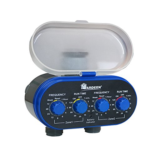 Yardeen Dual-Valve Hose Water Timer Sprinkler Timer Irrigation Controller Ball Valve, Blue