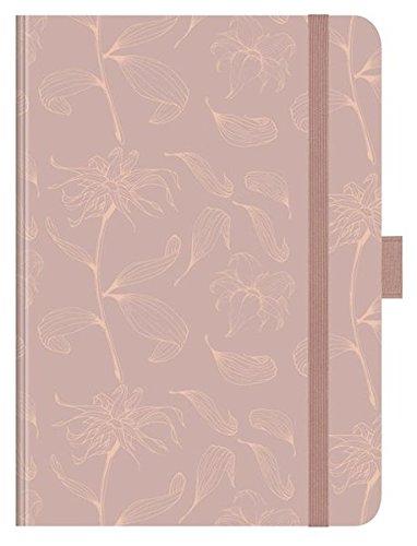 """Premium Notes Big \""""Rose Gold Flowers\"""": A5 Notizbuch liniert mit hochwertiger Folienveredelung, Stiftehalter, Zetteltasche und Leseband"""