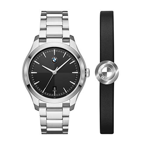 BMW Reloj de Cuarzo para Hombre con Correa de Acero Inoxidable, Plateado BMW9001