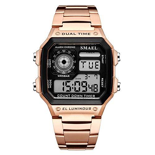 SMAEL Reloj Electrónico 4 Colores Reloj Digital LED Correa De Acero Inoxidable Esfera Rectangular,Rose Gold