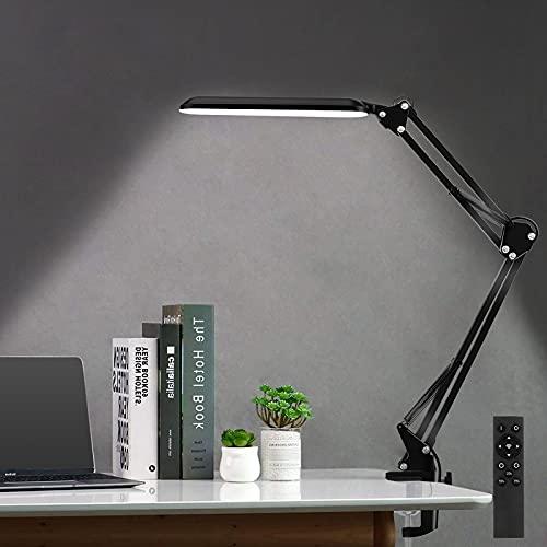 Lámpara de escritorio LED SKYLEO con abrazadera,luz de lectura regulable para el cuidado de los ojos,lámpara de brazo oscilante de 3 modos de color,lámpara de mesa con clip USB