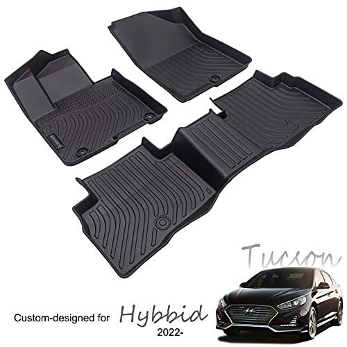 KELCSEECS Car Floor Mats for Hyundai Tucson Hybrid 2022 Full Set Front and Second Row All Weather TPE Mats