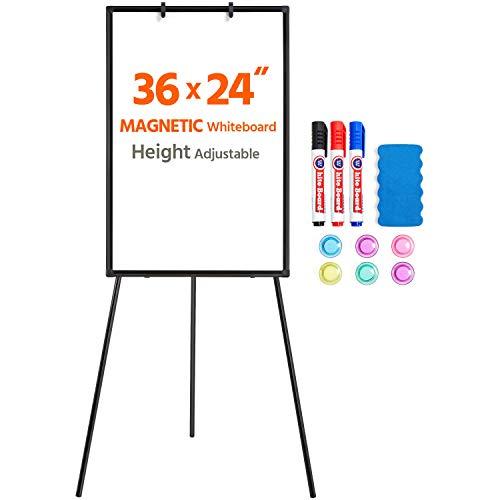 Yaheetech Easel Style Whiteboard 36x24 Inches Tripod Whiteboard Magnetic Erase Board/Flipchart Easel Whiteboard Easel Style Height Adjustable Stand Board Black