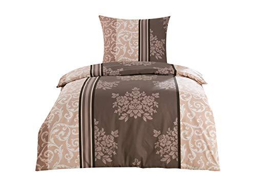 Class Home Collection 2 TLG. Renforce Baumwolle Bettwäsche Bettgarnitur Set Reißverschluss 155x220 cm Natura Braun
