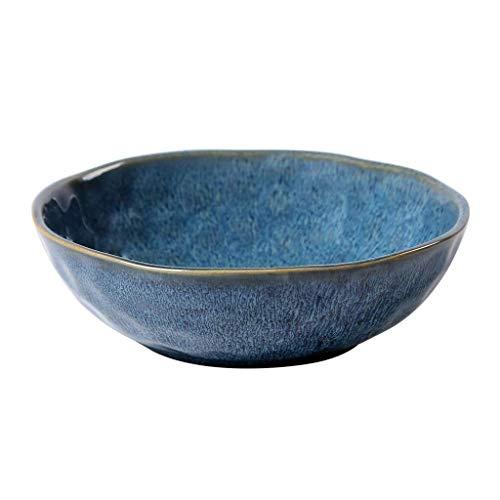 HUAHUA Bowls Cuenco de cerámica Cuenco de cerámica tazón azul oscuro pecas creativo irregular de contenedores de ensalada de fruta pastas placa Vajilla 18x5.7cm