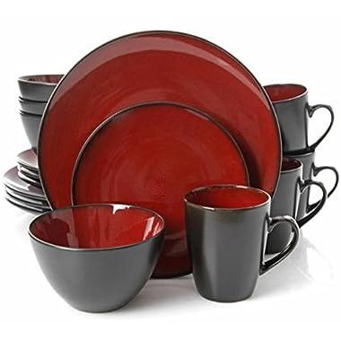 Gibson Home 16 Piece Reactive Stoneware Soho Round Dinnerware Set, Red