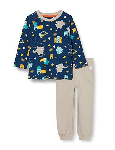 Sigikid Jungen Mini Pyjama 2-teilig aus Bio-Baumwolle, Größe 086-128 Pyjamaset, Blau/Beige, 110