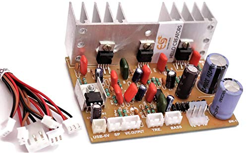 Electronic Spices 2.1 Home Theater Amplifier Board 100 watt with Bass Boost Support TDA2030 Based with inbuilt 5 Volt Regulator IC 7805