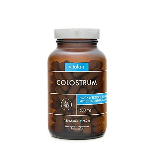VITAFAIR Colostrum (500mg pro Tagesdosis) - 120 Vegetarische Kapseln, Ohne Magnesiumstearat, German Quality - 30% Immunoglobuline G = 150mg - Hochdosiertes Magermilchpulver vom Rind