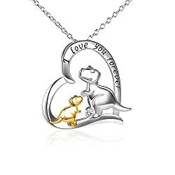 7. LUHE Store I Love You Forever Sterling Silver Dinosaur Necklace