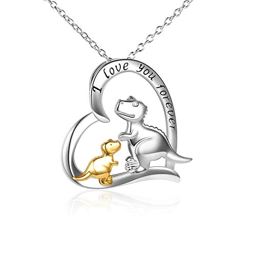 Dinosaur Necklace Sterling Silver I Love You Forever Heart Necklace for Women,Mother and Daughter Dinosaur Pendant Necklace Chain Mum Birthday Jewellery Gifts For Women Girls