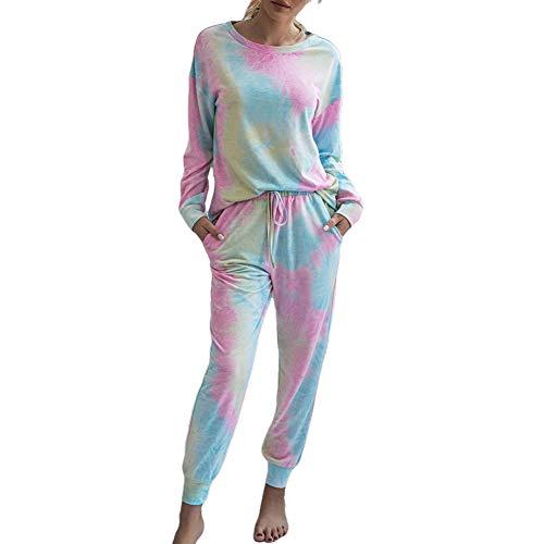 Pyjamas Set Damen Langarm Weihnachten Gedruckte Tie Dye Nachtwäsche Sets Loungewear PJs 2 Stück Trainingsanzug T-Shirts Joggerhose Outfit für Frauen Mädchen (M, B-Rot) (S, A-Rosa 2)