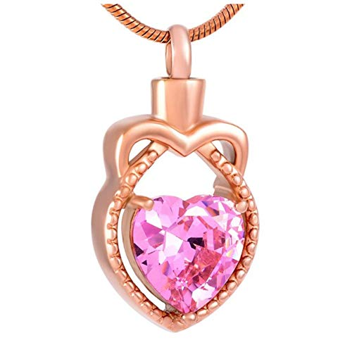 Memorial Urn Pendant Necklace Hold Heart Shape Purple/Pink Crystal Teardrop Cremation Necklace Jewelry Ashes Holder For Women