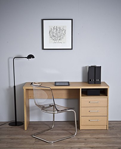 Topkit   Mesa de Escritorio Valencia 4040   Medidas 73 x 140 x 50 cm   Escritorio con cajones   Mesa Ordenador   Mesa Estudio   Roble