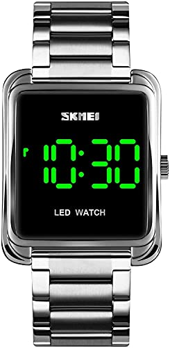 YQCH Relojes para Hombre Reloj Digital Minimalista LED de retroiluminación de Acero Inoxidable Reloj de Pulsera de Negocios (Color : Silver)