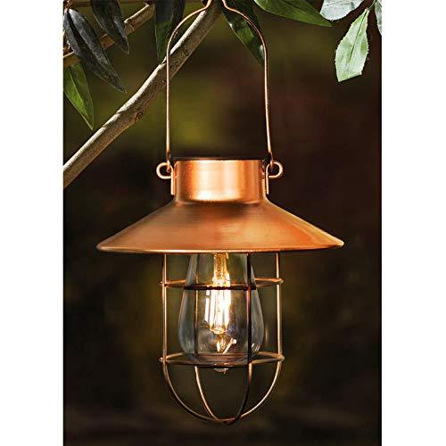 2 Pack EKQ Hanging Solar Lights Lantern Lamp with Shepherd Hook, Metal Waterproof Edison Bulb Lights for Garden Outdoor Pathway (Copper)