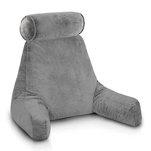 ComfySure Backrest Reading Pillow with Arms - Shredded Memory Foam - Husband Pillow Chair for Sitting Up in Bed to Rest with Head and Neck Support