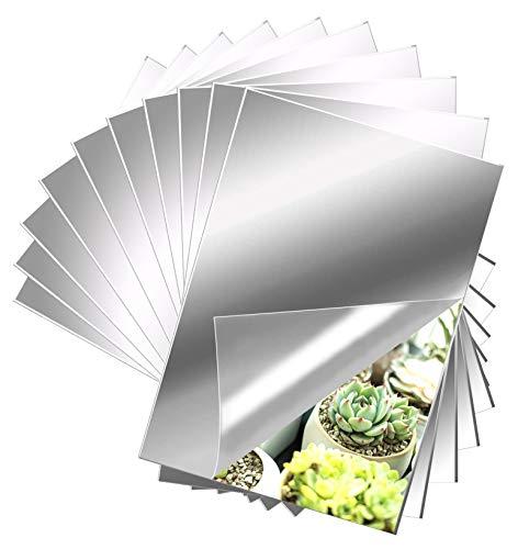 10 Stück Spiegelfliesen Fliesenspiegel, EONAZE Selbstklebende Spiegel Flexibler Nicht Glas Wanddekoration HD DIY Acrylic Dekospiegel Garderobenspiegel Rahmenloser Wandspiegel (15 x 23 cm)