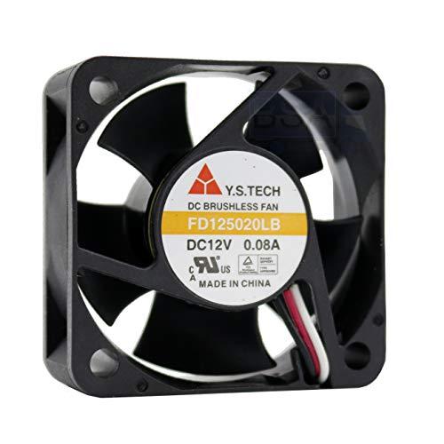 Y.S Tech Ventilador 50mm 50x50x20mm fd125020lb refrigeración 12V 3 Pines 3 Hilos (+/-y Sensor tacómetro)