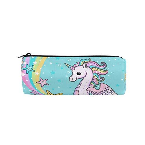 Trousse à crayons, motif hippocampe arc-en-ciel licorne, étoile de mer, trousse à crayons pour l'école, bureau, trousse de maquillage pour femme