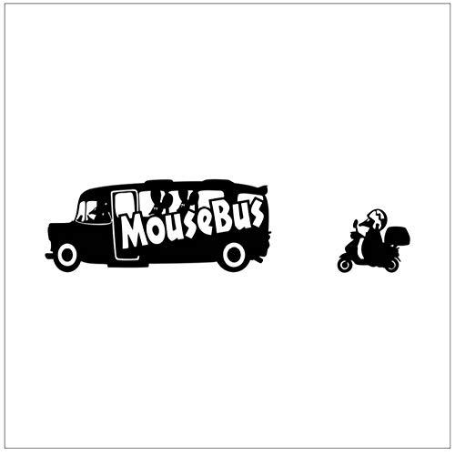 Zwarte Leuke Kleine Muis Ride Bus Ride Tram Vinyl Verwijderbare Muurstickers Home Decor Slaapkamer Woonkamer Kids Kamer Deur en Raamstickers