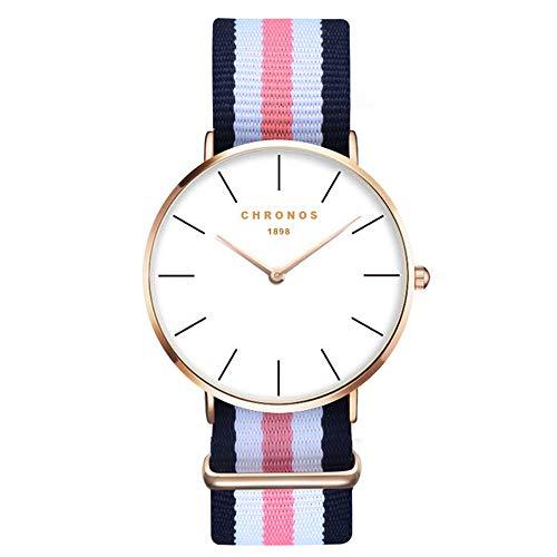 XLORDX, orologio da polso da donna, unisex, elegante orologio al quarzo di colore oro, alla moda, design classico senza tempo, colore del cinturino in nylon: blu, bianco e rosa