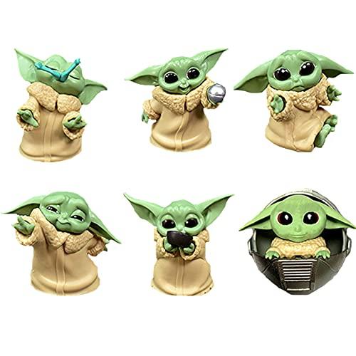 BESTZY Baby Yoda Toy 6 Figuras de Peluche para Bebé Baby Yoda Doll Figure Modelo de Acción para la Oficina o Los Niños(C)
