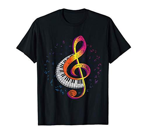 Piano Musik Notenschlüssel Pianist Geschenk Klavier T-Shirt