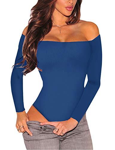 SEBOWEL Body con Hombros Descubiertos para Mujer, Manga Larga, Sexy, Elegante, con Espalda Descubierta, Camiseta para Mujer (S, Azul)