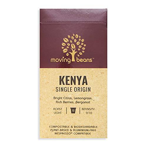 Cápsulas de café biodegradables, compostables y sin plástico/aluminio, compatibles con Nespresso® | granos móviles Kenia de origen único | cápsulas de café ecológicas
