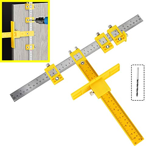Cabinet Pull Template Hardware Jig, Punch Locator Drill Guide Wood Drilling Doweling Tool for Door and Drawer Handle Knob, Adjustable Pull Installation Template Tool for Drilling Holes on Wood Drill