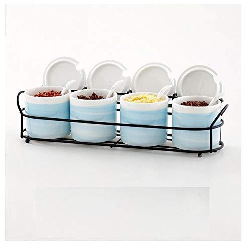 Ykun MSG Box Salt Sugar MSG condimento Box, Caja de Almacenamiento de Cocina, Botella de condimento doméstico, Tarro de condimento-Conjunto Azul de 4 Piezas